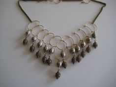 Silver mala and baroness brass bali drops necklace