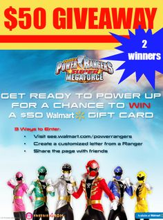 What would you spend a $50 Walmart gift card on if you WIN?  ENTER DAILY http://freebies4mom.com/powerrangers AD 2 WINNERS #SuperMegaForce (ends Oct. 6)