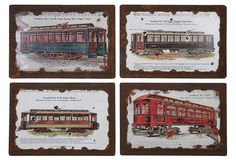 This set of four wooden plaques is a must for any train connoisseur, history buff…or anyone who just wants to add a tasteful accent to the surroundings.  Great for a boys room