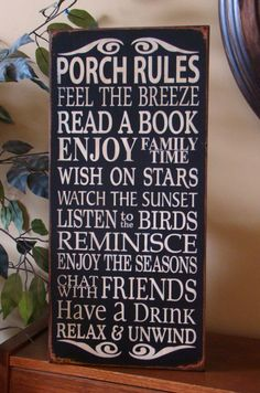 Porch Rules Wooden Primitive Sign by kshopa on Etsy