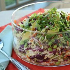 Ty's Thai Salad Trisha Yearwood recipe - so good. Added red onion and her crunchy topping from the strawberry spinach salad..