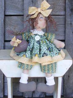 Country Primitive Wilabee Easter Bug doll by DeenasCountryHearth, $12.00