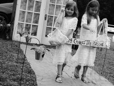Flower girls...handmade doily baskets and sign