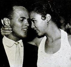 """Dorothy DandridgeandHarry Belafontein an offstage moment from """"Carmen Jones"""" that appeared in the September 30, 1954 issue of Jet. They also appeared on the cover."""