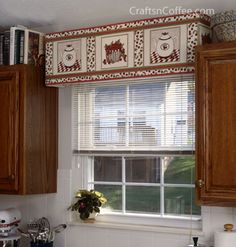 So easy to make these custom window cornices to match a theme/color scheme. In fact, can be recovered when you tire of the look. Super lightweight -- made from foam boards. #DIYWindowCornices