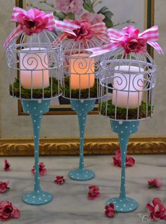 Painted Glass Birdcage Candleholders
