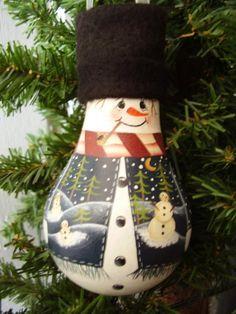 Snowman lightbulb ornie
