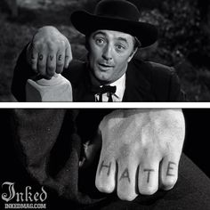 Best Tattoos In Movies-Pt2 : Inked Magazine - Robert Mitchum in Night Of the Hunter #tattoo #tattoos #movies #inkedmag #celebrities #celebritieswithtattoos #actor #actress