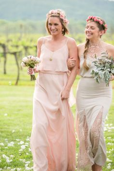 #bridesmaids in #pink sporting pretty little flower crowns | Photography by lizmaryann.com, Florals by http://www.eleganceandsimplicity.com  Read more - http://www.stylemepretty.com/2013/09/26/keswick-virginia-wedding-from-liz-maryann-photography/
