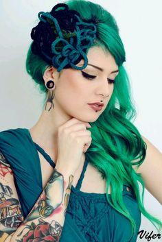 #Green #hair #piercing #tattoo www.bodycandy.com