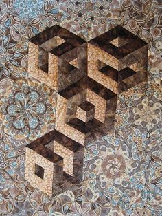 Hollow cubes, in a one block wonder quilt at Quilts by Joyce wonder quilt, hollow cube