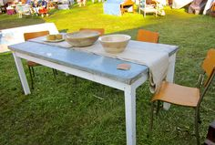 Tin-top farm table.  This is totally my vibe!