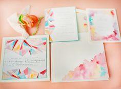 watercolor and graphic mix invites. so pretty.
