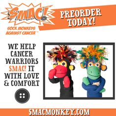 Sock Monkeys Against Cancer are now available!!   Know someone with #cancer? Give them one of these cuddly monkeys to help them SMAC! it with love & comfort.   Pre-order at: www.smacmonkey.com!  #beatcancer #SMACancer #cancersucks