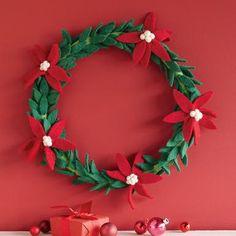 Evergreen  handmade felt wreath,  christmas, holidays  poinsettia