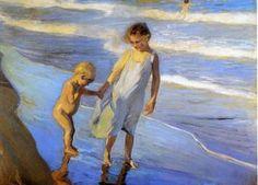 Valencia, Two LIttle Girls on a Beach - Joaquin Sorolla y Bastida