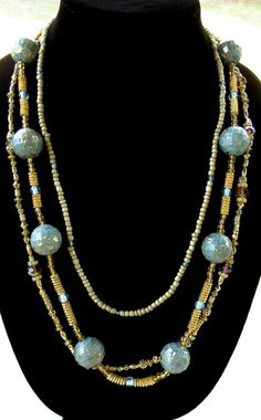 3 Strand Light Blue Gold Crystal and Tan by TheBumbleBeadCompany