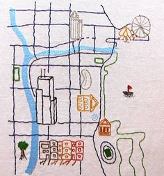 Chicago Embroidered Map, Illustrated Style. $50.00, via Etsy.