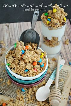 Try this Monster Cookie Dough Granola recipe for an easy on the go snack #ConcessionStandIdeas