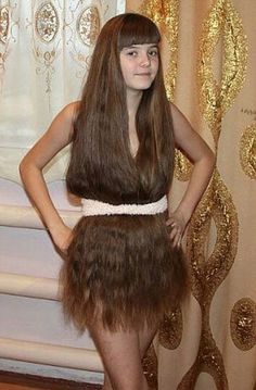 Really Long Hair Dress - Who Needs Clothes? - Hirsutism High Fashion Model  ---- best hilarious jokes funny pictures walmart humor fail