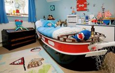 Pirate Sea Or Ship Theme With Red Blue Decor Plus Trunk And Area Rug