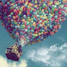 Yeah who doesn't want to have over millions of balloons holding a house up?