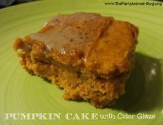 2 Ingredient Pumpkin Cake---I poke holes all over and pour the glaze when warm. When cool I top with whipped cream and store in the frig. It's better the 2nd day.