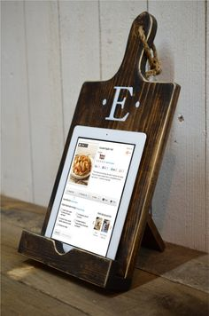 Wood iPad Stand Cutting Board Style by RchristopherDesigns on Etsy, $39.00 cutting boards, christmas gift ideas, cut board, mothers day, cookbook, christmas presents, kitchen, black friday, christmas gifts