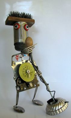 RECYCLED ROBOT SCULPTURE    best American Idol by BranMixArt, $96.00 robot sculpture, recycl robot, recycled sculpture, recycled robots, maid, metal art, recycled art sculpture
