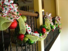 Kristen's Creations: The Christmas Decorating Has Begun...Come And See!!  Love this garland with mesh and ribbon