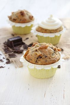 """via: """"A Rosy Note"""": Chocolate Chip Banana Nut Muffins"""