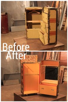 Check out this steamer trunk turned bar cart!