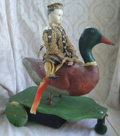 Early German Papier Mache Doll and Duck