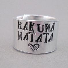Disney Lion King Ring - Hakuna Matata - Hand Stamped Aluminum