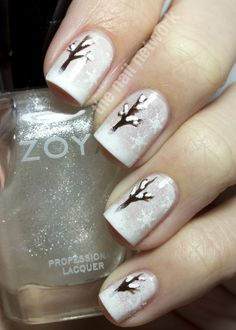 The Nail Network: Snowy Winter Tree Nail Art