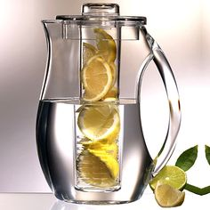 Fruit infusion pitcher. A perfect way to flavor your water! fruit infus, at home, gift, drink, flavored waters, infused waters, kitchen, lemon water, infus pitcher