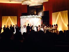 Chuppah Flowers Draping Temple Lighting