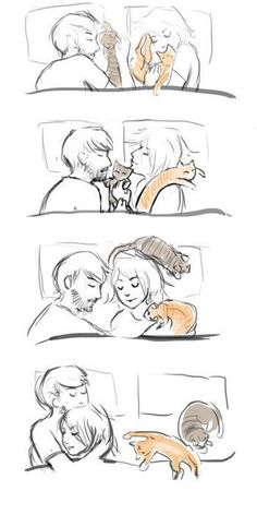 how to draw a couple cuddling in bed