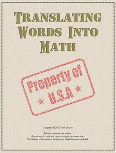 This is an exciting lesson for middle school math students in which they learn to translate between algebraic expressions written in word form to algebraic expressions written with mathematical symbols. The theme of the lesson is World War II and the role the Navajo Indians played in the war effort.  Check out the free preview! middle school algebra, middle school lessons, middl school, middle school games that teach