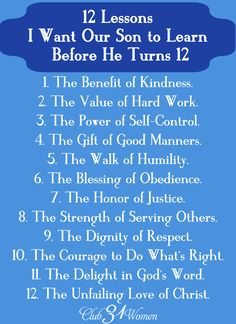 What are the most important things I can pass on to our son? Here is a FREE printable of those 12 Lessons I Want Him to Learn Before He Turns 12.