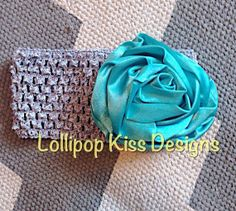 Gray headband with large turquoise rosette by LollipopKissDesigns, $8.00