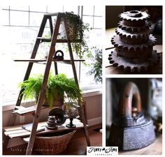 A clean approach to winter decorating with a ladder plant stand, but not without memories attached... story and photoshoot via Funky Junk Interiors