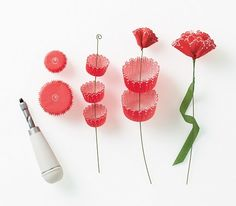 Cupcake carnation paper flowers. Martha Stewart Crafts department.