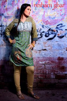 Digital Kurti Collection 2013 by Resham Ghar, Printed Kurti Collection 2013 #pakistanidresses #dresses #dress