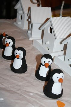 The start of the little penguins -they ended up with little crocheted hats and scarves - and some soon-to-be Christmas birdhouses in the background.
