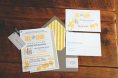 Yellow + Gray Wedding Invitations
