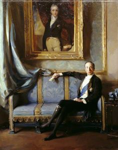 Sir Charles Stewart Henry Vane-Tempest-Stewart (1878–1949), 7th Marquess of Londonderry, KG, Seated under a Lawrence Portrait of Castlereagh, 1924,  by Philip de Laszlo (1869-1937).