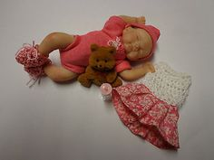 OOAK BY CECE 4 INCH BABY girl with outfits HAND SCULPT/POLYMER CLAY