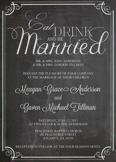 Shabby Chic Vintage Chalkboard Wedding Invitation Birthday Party Bridal or Baby Shower Sign Digital on Etsy, $20.00