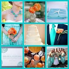 orange and turquoise weddings - Google Search